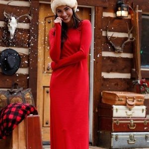 Shabby Apple Rudolph Red Maxi Dress